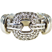 Chic David Yurman Sterling Silver and Diamond Ring