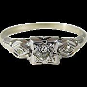 Antique 18k White Gold Engagement Ring