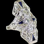 Antique Art Deco Platinum, Diamond, and Sapphire Long Ring