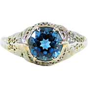 14k White Gold Antique Ring with Gorgeous London Blue Topaz Center Stone