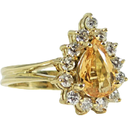 Magnificent Honey Topaz and Diamond Cocktail Ring