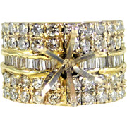 Breathtaking and Blinged-Out 14k Gold and Diamond Vintage Engagement Ring Setting with Over 2ct of Diamonds