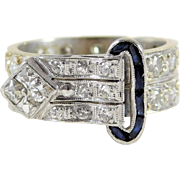 Hand Crafted Unique Vintage 14k White Gold Diamond Belt Ring with Sapphire Buckle