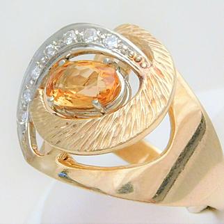 Ladies Vintage 14k Gold Citrine and Diamond Ring