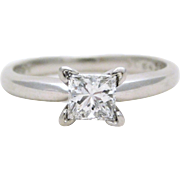 Princess-Cut Diamond and Platinum Solitaire Engagement Ring