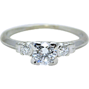 Vintage Platinum Three-Stone Diamond Engagement Ring