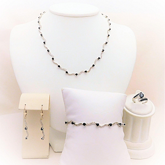 14k White Gold Diamond and Sapphire Complete Jewelry Set