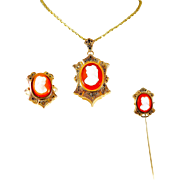 Antique Edwardian Style Cameo Pin, Ring, and Necklace Set