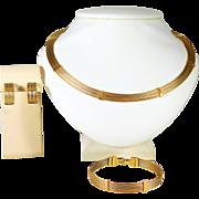 Magnificent Vintage Two Tone 14k Gold Cable Necklace, Earring, Bracelet Set