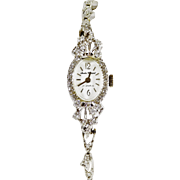 "Dazzling 14k White Gold and Diamond Andre Cherval ""17 Jewels Series"" Ladies Time Piece"