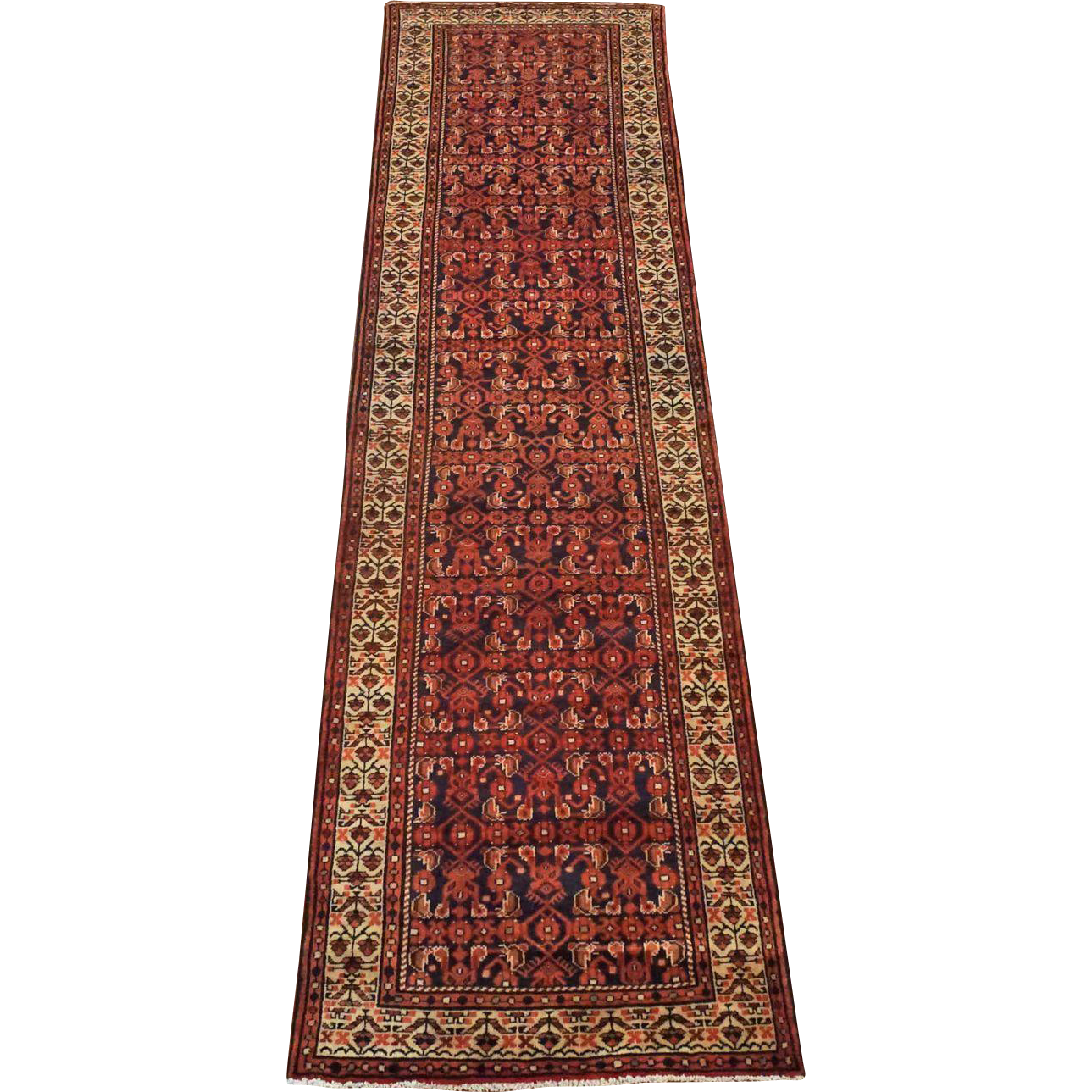 Herati 3X13 Runner Persian 1940s Hand Knotted Wool Area