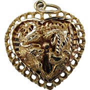 Gorgeous Heart Featuring a Filigree Design in 18k Yellow Gold