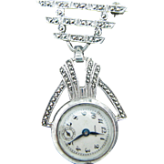 Monarch 1930's Vintage Lapel Watch with Marcasite Watch Pin