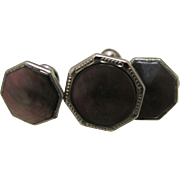 Vintage Sterling Silver Cuff Links with Dark Brown Stones