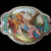 Vintage Italian 800 Silver & Enamel Pill Box