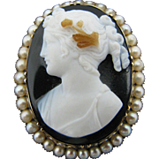 For Sale: (1) Beautiful Antique Carved Dark Shell Cameo Brooch in 14k Yellow Gold