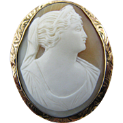 Gorgeous Vintage Carved Cameo Convertible Brooch/ Pendant in 10k Yellow Gold