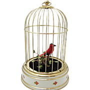 Vintage 1950's Chirping Bird in Cage