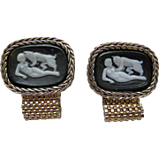 Vintage Cufflinks Pan, God of the Woods Incolay Cameo Masterpiece Collection by Dante