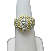 Beautiful Diamond Cluster Domed Ring in 18k Yellow & White Gold