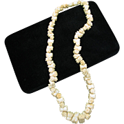Beautiful Vintage Carved Flowers in Bone Necklace with Bone Clasp