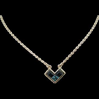 Beautiful Chevron (3) Aqua/ Green Stone Necklace in 18k Yellow Gold