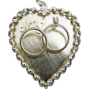 Beautiful 14k Yellow Gold Heart Pendant with an Engagement Ring Set and May