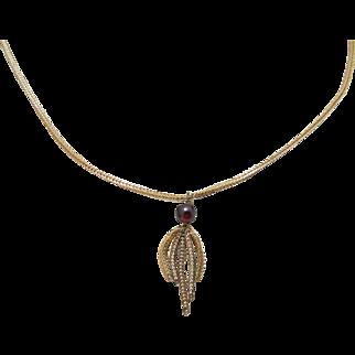 Stunning 18k Yellow Gold Garnet & Tassel Necklace