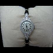 Platinum Lady Elgin Diamond Watch