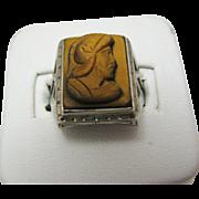 Vintage Men's Carved Tiger Eye 10k White Gold Ring