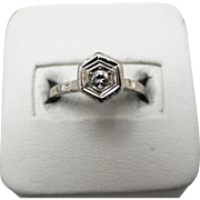 Amazing Vintage Art Deco 14k White Gold Solitaire Diamond Ring