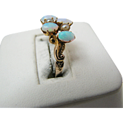 Beautiful Vintage Opal and Pearl Ring in 9k Yellow Gold