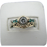 Gorgeous Vintage Diamond and Emerald Pearl Ring in 14k Yellow Gold Filigree Set