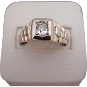 Handsome 14k Rose and White Gold Men's Diamond Ring