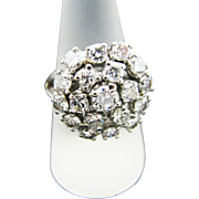 Stunning Diamond Cluster Dinner Ring in 14k White Gold