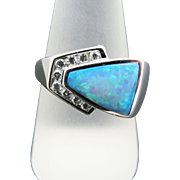 Stunning Lab Created Opal Ring with Diamonds in 14k White Gold