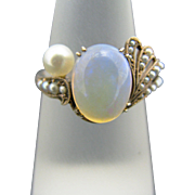 Stunning Vintage Jelly Opal and Seed Pearl Ring in 14k Yellow Gold