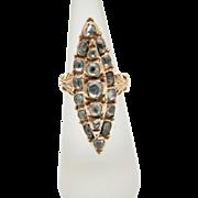 Unique 1700's Single Rose Cut Diamonds Dinner Ring in 9k Rose Gold