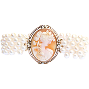 Hand Woven Cameo and Cultured Pearl Bracelet with Sapphires and Diamonds