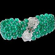 Hand Woven Vintage Green Onyx Filigree Bracelet