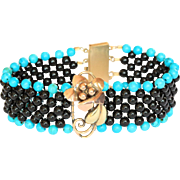 Touch-of-Turquoise Hand Woven Black Onyx Flower Bracelet with Filigree Clasp
