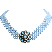 Hand Woven Glistening Moonstone and Opal Necklace