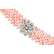 Hand Woven Coral, Turquoise and Cultured Pearl Bracelet
