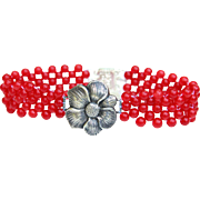 Hand Woven Sterling Silver Flower Bracelet