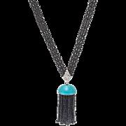 Art Deco Hand Woven Black Onyx & Enamel Sautoir Tassel Necklace