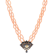 Victorian Hand Woven Coral & Black Onyx Sautoir Necklace