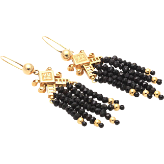 Victorian Black Spinel Tassel Earrings