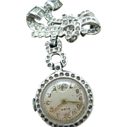 Elem Vintage Marcasite Lapel Watch on a Ribbon Style Watch Pin - Sterling Silver