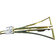 Vintage 18k Yellow Gold Triangle Tie Bar with (4) Diamonds