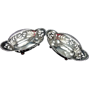 Beautiful Set of Vintage Sterling Plate Nut or Candy Baskets by Tiffany & Co.